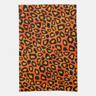 Djurt tryck för attraktiv ljus orange Leopard Kökshandduk