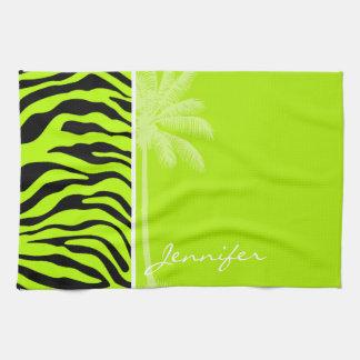 Djurt tryck för Chartreuse zebra ränder; Kökshandduk