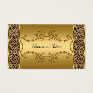 Djurt tryck för elegant flott guldsvartLeopard Visitkort