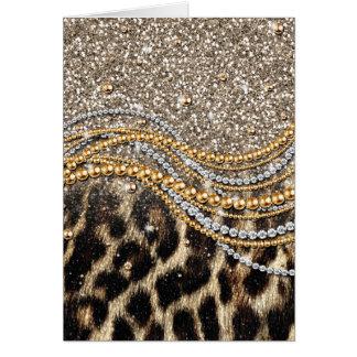 Djurt tryck för härlig för trendig leopard hälsningskort