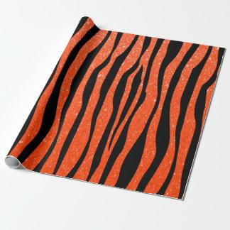 Djurt tryck för mjuk ljus orange glittersebra presentpapper