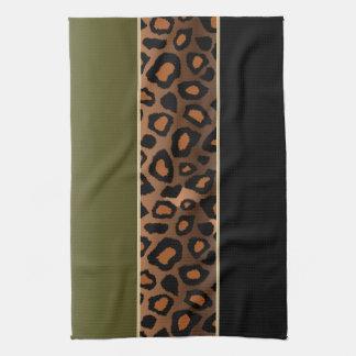 Djurt tryck för oliv grönt och svart Leopard Kökshandduk