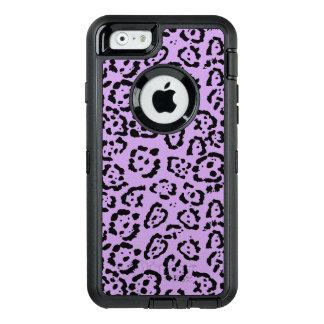 Djurt tryck för purpurfärgad Leopard OtterBox Defender iPhone Skal