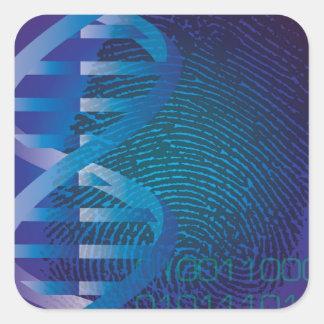 DNA identifierar med fingeravtryck Fyrkantigt Klistermärke