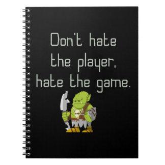DobbelGeek: Hata inte spelare Anteckningsbok Med Spiral