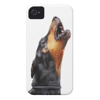 Doberman som tjuter, närbild Case-Mate iPhone 4 skydd