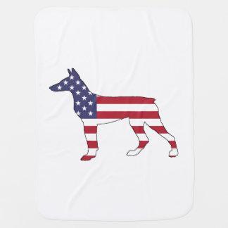 """dobermanpinscher """"amerikanska flaggan """", bebisfilt"""