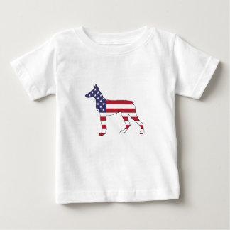 "dobermanpinscher ""amerikanska flaggan "", tee shirt"