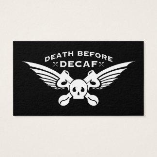 död för decaf visitkort