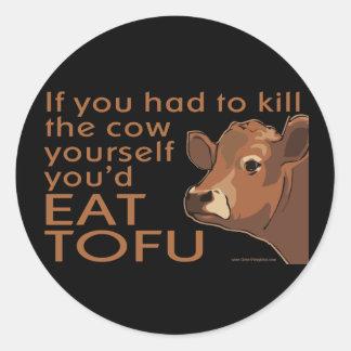 Döda kon - veganen, vegetarian runt klistermärke