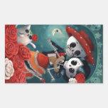 Döda skelett- mexicanska älskare rektangelformade klistermärken