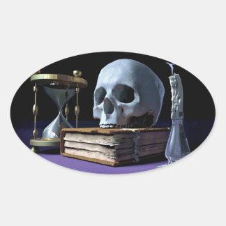 DÖDLIGHET! (skalle, lunta, stearinljus & timglas) Ovalt Klistermärke