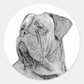 Dogue de Bordeaux lilla klistermärkear Runt Klistermärke