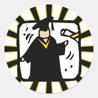 Doktorand- häleridiplom - svart & guld runt klistermärke