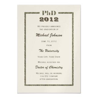 Doktors- metalliskt studentenmeddelande för PhD 12,7 X 17,8 Cm Inbjudningskort
