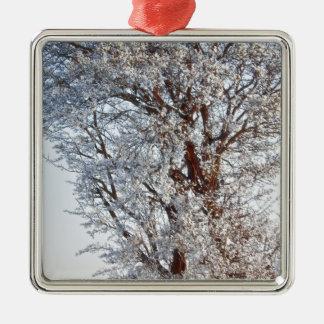 Doldt träd för snö julgransprydnad metall