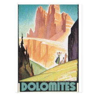 Dolomitesvintage resoraffisch vykort