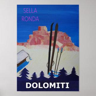 Dolomiti Sella Ronda Retro affisch