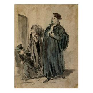 Domare, kvinna och barn vykort