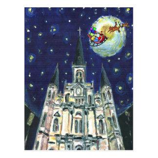 Domkyrka för Starry natt, santasleigh Vykort
