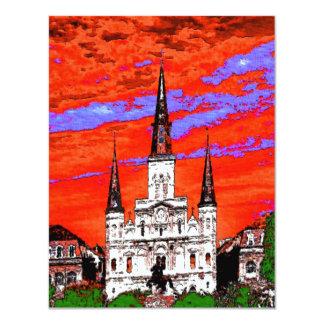 Domkyrka New Orleans, Fauvist färger 10,8 X 14 Cm Inbjudningskort