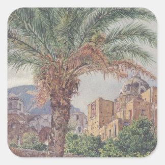 Domkyrkan av Capri av Rudolf von Alt Fyrkantigt Klistermärke