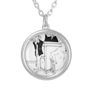 Domstoltecknad 5490 silverpläterat halsband