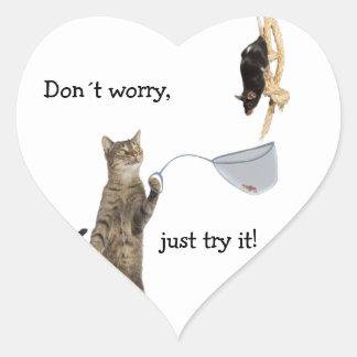 Don´t bekymmer, precis försök det! hjärtformat klistermärke