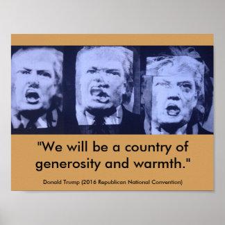 Donald Trump - ett land av generositet och värme Poster