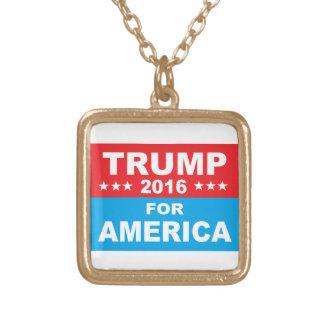 Donald Trump för Amerika Guldpläterat Halsband