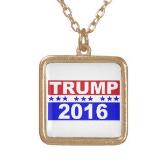Donald Trump för president 2016 röda vit och blått Guldpläterat Halsband