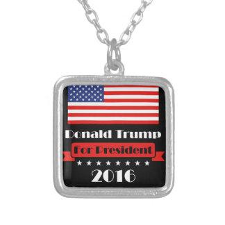 Donald Trump för presidenten 2016 Silverpläterat Halsband