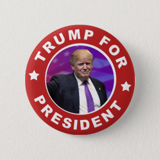 Donald Trump för Retro rött för presidentfoto Standard Knapp Rund 5.7 Cm