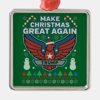 Donald Trump gör jul underbar igen Silverfärgad Fyrkantigt Julgransprydnad