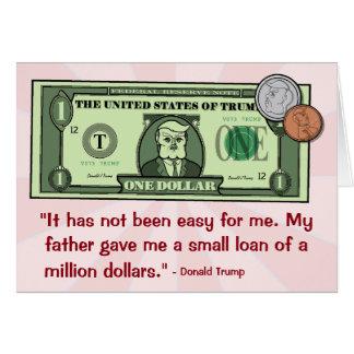 Donald Trump som en dollarräkning Hälsningskort