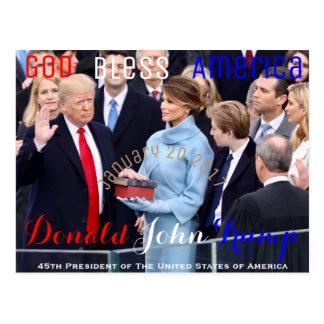 Donald Trump som tar hans ed av kontoret Januari Vykort