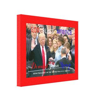 Donald Trump som tar hans ed av kontoret POTUS Canvastryck
