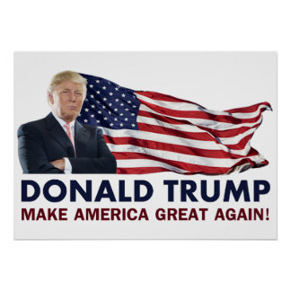 Donald Trump US flagga Poster
