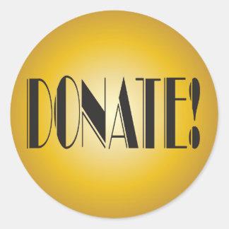 Donera! fundraiserelegantguld runt klistermärke