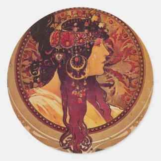 Donna Orechini med rött hår Runt Klistermärke