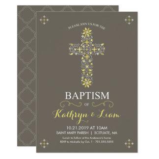 Dop, Christening Invitatio, flicka och eller pojke 11,4 X 15,9 Cm Inbjudningskort