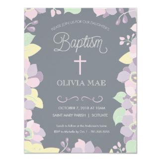 Dop, Christeninginbjudan - blommor & kor 10,8 X 14 Cm Inbjudningskort