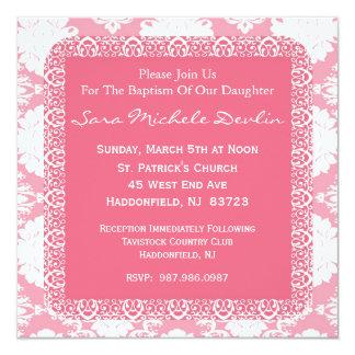 Dop-/Christeninginbjudan för flicka Fyrkantigt 13,3 Cm Inbjudningskort