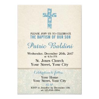 Dop Christeninginbjudan för POJKE 12,7 X 17,8 Cm Inbjudningskort
