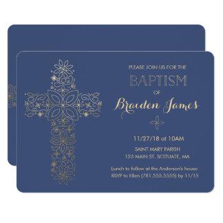 Dop Christeninginbjudan, guldkorinbjudan 12,7 X 17,8 Cm Inbjudningskort