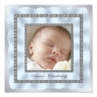 Dop för Christening för foto för silverbaby med Fyrkantigt 13,3 Cm Inbjudningskort