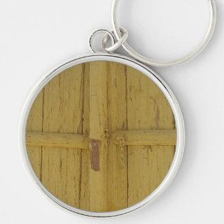 dörren specificerar rund silverfärgad nyckelring