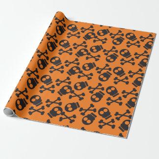 Döskallar och orange bakgrund Halloween för Presentpapper