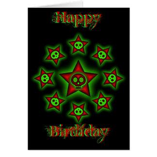Döskallar- och stjärnafödelsedagkort hälsningskort