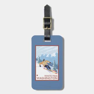 Downhhill snöSkier - vit passerar, Washington Bagagebricka
